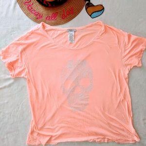 Talula Peach Skull Graphic Tshirt Size Medium